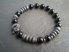 Buddha Beads Onyx Stone Bracelet Jewellery Dark Mala Womens Mens Bracelet UK