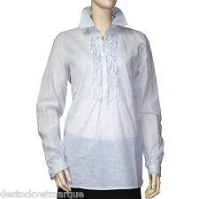 MAISON SCOTCH Chemise blanche jabot rayures bleu pale femme taille 3