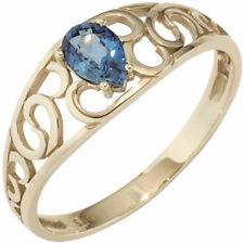 Damen Ring 585 Gold Gelbgold 1 Saphir blau Goldring Saphirring 14 Karat..
