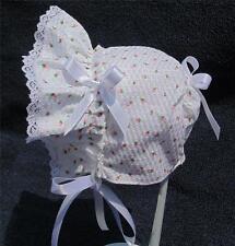 New Handmade White Searsucker with Rose Buds Baby Sun Bonnet