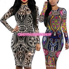 Sexy Women LongSleeve Tribal Tatoo Sheer Print Party Evening Club Bodycon Dress
