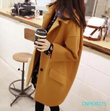 Women's Korean Woolen Blend Coat Loose Fit Jacket Outwear Casual Long Coat @BT02