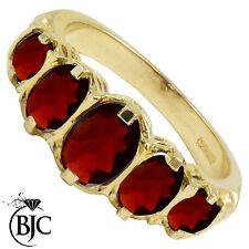 BJC 9ct ORO GIALLO VITTORIANO/Gitano stile LAUREA Granato 5 PIETRA anello