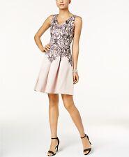 Taylor Velvet-Inset Printed Fit & Flare Dress BLUSH BLACK MSRP$128.00