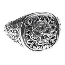 327302191ffd62 Gerochristo 2616 ~ Sterling Silver-Medieval Byzantine Filigree Floral Cross  Ring