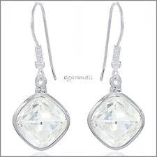Sterling Silver Rhombus Drop Dangle Earrings with CZ Clear #53140