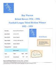 RAY Warren Bristol ROVER 1936-1956 MOLTO RARA ORIG mano firmato TAGLIO / CARD buona
