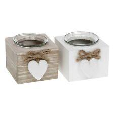 Shabby Chic Wooden Single Candle Tea Light Holder White ot Natural Gift