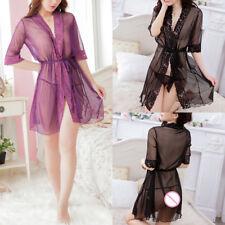 Women Robe Lace Kimono Babydoll Lingerie With Belt Nightwear Sheer Nightgown