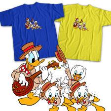 Disney Donald Duck Huey Dewey Louie Family Singing Cartoon Unisex Tee T-Shirt
