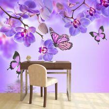 Lila Blume Wandbild Blumenschmetterling Foto-Tapete Mädchen Schlafzimmer Dekor