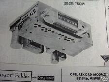 1958, 1959, 1960 OPEL REKORD RADIO PHOTOFACT