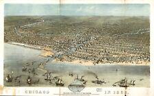 Stampa POSTER Antico città americane città mappa degli stati Chicago