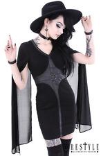 Restyle Kleid mit Cape O Ringe Gothic Rocker Emo Punk Damen Stift Gothik Kleid