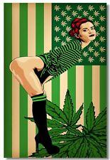 194318 Cannabis Marijuana Leafs USA flag Psychedelic Wall Print Poster CA