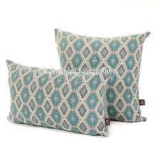 New Soft Woven Modern Small Motif Diamond Geometric Pattern Blue Fabric Cushion