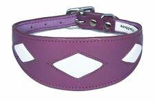 Padded Dog Afghan Collar Saluki Whippet Dog Collar Purple Leather Diamond Shape