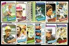 1980 OPC O PEE CHEE TOPPS MLB BASEBALL CARD 251-374 SEE LIST