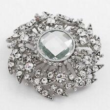 Clear Crystal Decorative Circle Pin/Brooch