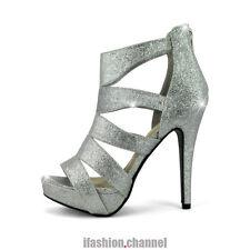 Open Toe Strappy Caged Silver Glitter Heel Platform Wedding Zipper Sandal Liso