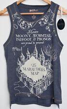 PRIMARK Marauders Map Vest T Shirt HARRY POTTER Womens Blue NEW UK Sizes 6-14