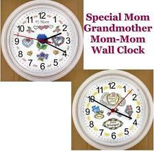 Special MOM GRANDMOTHER WALL CLOCK Grandma Mother Mom-Mom Granny Mommy NEW