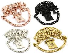 God Jesus Piece Charm Micro Pendant Figaro Chain Necklace Jewelry Set Of Two