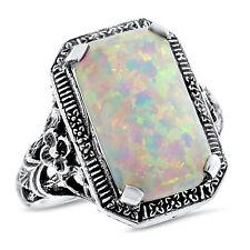 Design Art Deco Silver 00005Da9  Ring, #764 White Lab Opal .925 Sterling Antique