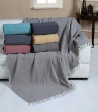 Herringbone 100% Cotton Fringed Throw Blanket For Bed Sofa Blanket 2 Large Sizes