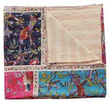 Kantha Quilt Indian Handmade Cotton Bedspreads Bird Print Blanket Throw