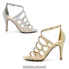 Open Toe Caged Party Wedding Rhinestone Ankle Sandal Shimmer Stiletto Heel Fritz