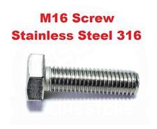 Hex Set Screw M16 (16mm) Bolt Marine Grade 316 Stainless Steel Metric Coarse