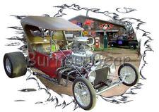 1923 Red Blown T Bucket Custom Hot Rod Garage T-Shirt 23 Muscle Car Tees