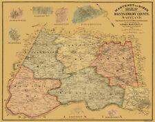 Old County Map - Montgomery Maryland Landowner - Martenet 1865 - 29.31 x 23