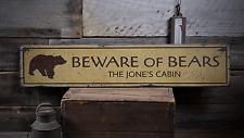 Beware Of Bears, Custom Family Name - Rustic Distressed Wood Sign ENS1001707