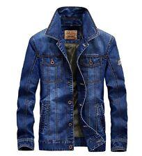 New Men's Retro Denim Cotton Jean Jacket Coat Casual Outwear Blue coats