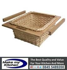 Set of 2 Kitchen Unit Wicker Baskets to Suit 500mm or 600mm Units Beech or Oak
