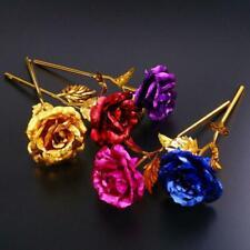 24K Gold Rose Flower Long Stem Golden Dipped Flower Best Mother's Day Valen B4E0