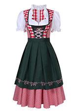 Women Oktoberfest Bavarian Plaid Dirndls Dress Halloween Party Maid Costume