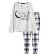 H&M Schlafshirt & Hose  Schlafanzug Gr. XS, S,  M, L 2 Farben  NEU