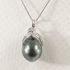 14k Solid White Gold & Diamonds Genuine Black-Green Tahitian Pearl Pendant TPJ