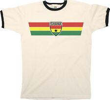 Mens Ringer T-Shirt GHANA AFRICA RETRO STRIP Football,Olympics,Patriotism