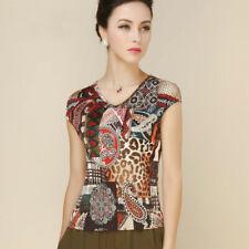 Pure Silk Knit Print Womens Cap Sleeve Shirt Top