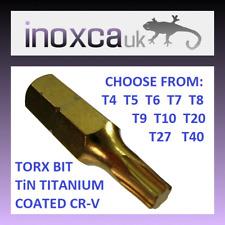 TORX TX SCREWDRIVER BIT TiN GOLD NO HOLE 25mm T4 T5 T6 T7 T8 T9 T10 T20 T27 T40
