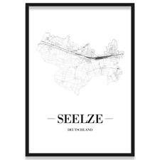 JUNIWORDS Stadtposter, Seelze, Weiß, Kunstdruck Plan Map