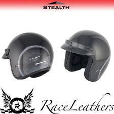 STEALTH HD320 BLACK SPEEDO OPEN FACE MOTORCYCLE SCOOTER CRUISER CITY HELMET