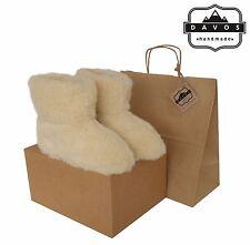 Women Men Natural Sheep Wool BootsSlippers with Sheepskin Soft Soles New Box