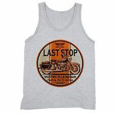 Last Stop Motorcycle Repair Tank Motorcycle American Garage Road Tanktop Gray