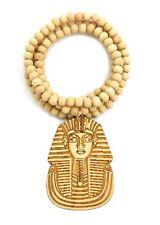 "Egyptian God Pharaoh King Tut Pendant 8mm 36"" Wooden Bead Hip Hop Necklace XJ50"