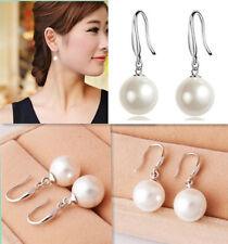 PLATA 925 perla pendientes pendientes de botón tamaño 8mm,10mm,12mm